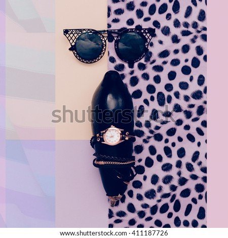 Fashion Accessories Sunglasses and Watches. Black Style. - stock photo
