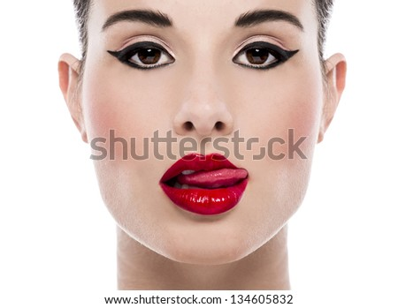 Fashion and make-up portrait of a beautiful young woman - stock photo