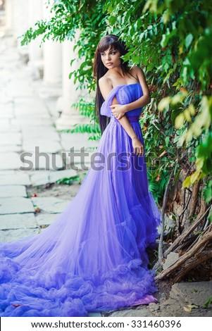 Fashion Art Beauty Portrait. Beautiful Girl, Model Woman wearing Long Chiffon dress. Magic. Miracle. Fantasy Scene  - stock photo
