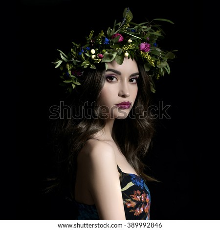 Fashion art photo of beautiful lady in flower diadem. Spring/Summer - stock photo