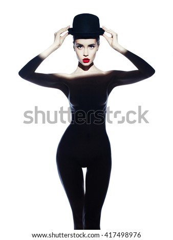 Fashion art photo of beautiful lady with sexy body - stock photo
