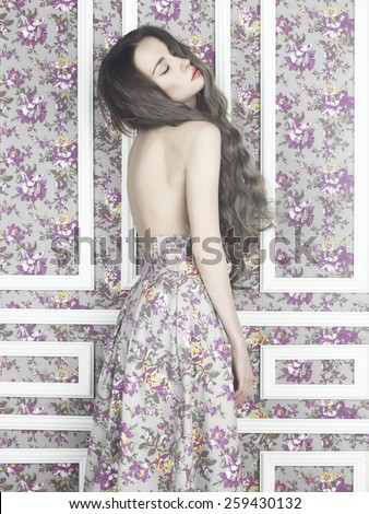 Fashion art photo of sensual elegant lady on floral background - stock photo