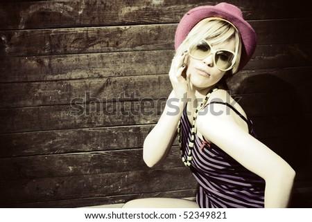 Fashion art photo. The beautiful young girl. Retro styled photo - stock photo