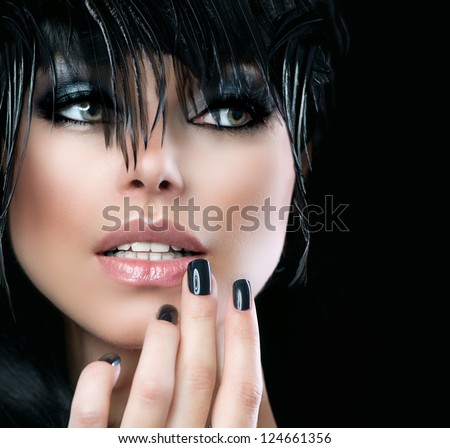 Fashion Art Portrait Of Beautiful Girl. Vogue Style Woman. Hairstyle. Black Hair and Nails. Isolated on Black Background. Beauty Stylish Model Portrait - stock photo