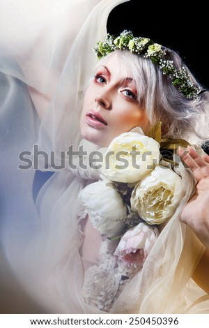Fashion-art portrait of romantic blonde  - stock photo