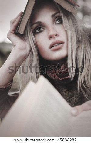 fashion autumn girl portrait - stock photo