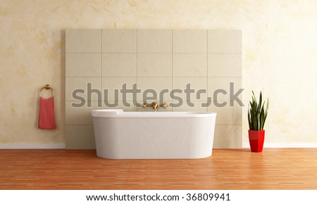 fashion bathtub against sandstone paneling -rendering - stock photo