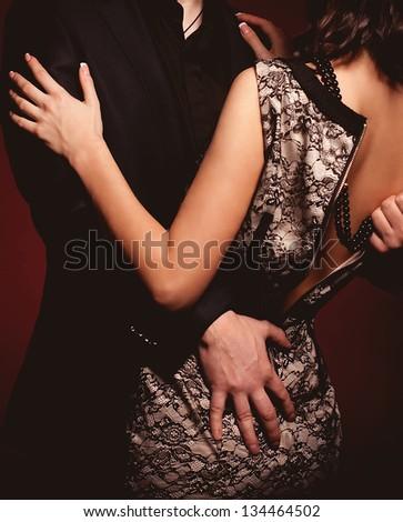 Fashion beautiful photo of man and woman - stock photo