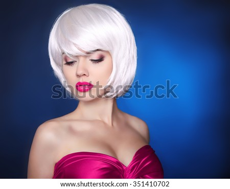 Fashion Beauty Blond Girl. Makeup. bob hairstyle. White Short hair. Face eye make-up Close-up.  Fringe. Vogue Style. - stock photo