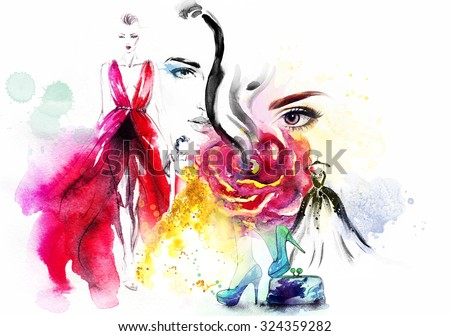 Fashion, beauty  collage. art llustration - stock photo