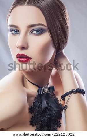 Fashion beauty - dodge and burn retouch ( high-end retouching) - stock photo