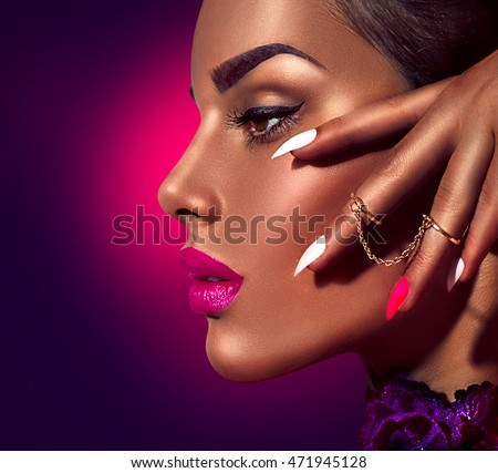 Fashion Beauty Girl Gorgeous Woman Profile Stock Photo ...