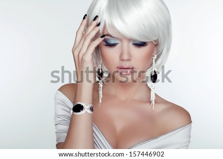 Fashion Beauty Girl. Woman Portrait with White Short Hair. Jewelry. Haircut and Makeup. Hairstyle. Make up. Vogue Style. Sexy Glamour Model - stock photo