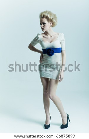 Fashion beauty in a dress with a belt and shoes - stock photo