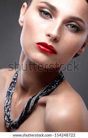 Fashion Beauty Make-up. Beautiful Woman with Luxury Makeup. Close-up - stock photo