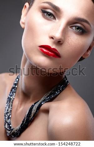Fashion Beauty Make-up. Beautiful Woman with Luxury Makeup. Close-up - stock photo