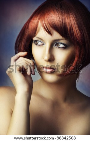 Fashion beauty portrait of glamour young sexy woman with perfect healthy skin. redhead female model with natural make up on blur background - stock photo
