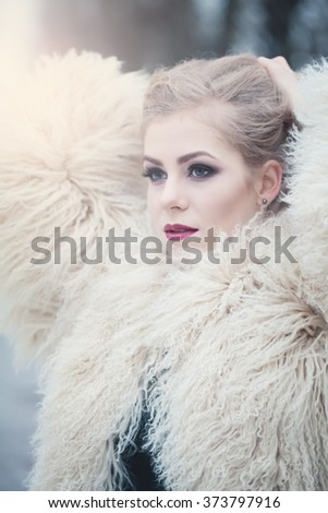 Fashion Beauty Portrait of Magnificent Woman Outdoors