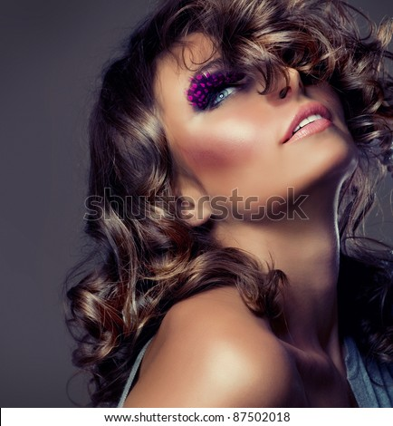 Fashion Beauty Portrait. Sexy Girl .Wavy Hair - stock photo