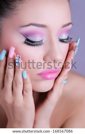 Fashion beauty shot. Professional make-up. - stock photo