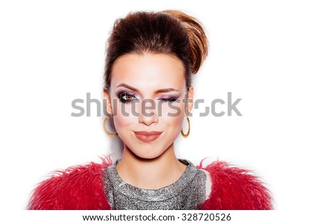 Fashion Beauty Swag Girl. Gorgeous Woman Portrait. Stylish Haircut and Makeup. Vogue Style. Close-up of Sexy Glamour Girl on White background no isolated - stock photo