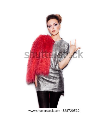 Fashion Beauty Swag Girl. Gorgeous Woman Portrait. Stylish Haircut and Makeup. Vogue Style. Sexy Glamour Girl on White background no isolated - stock photo