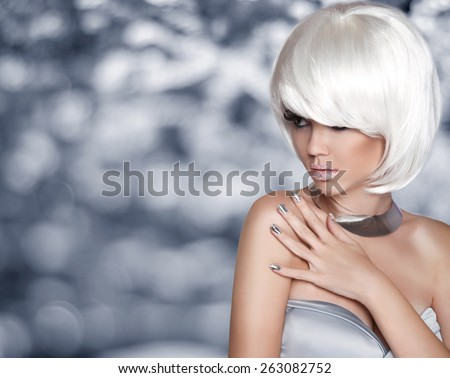 Fashion Blond Girl. Bob Hairstyle. White Short Hair. Beauty Portrait. Woman over Grey bokeh Background. Fringe. Vogue Style. Smoky Eye makeup.  - stock photo