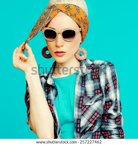Fashion blond girl in trendy hair accessories. Headscarf. - stock photo