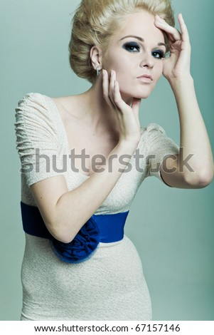 Fashion blonde hands of a person - stock photo