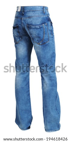 fashion blue jeans isolated on white background