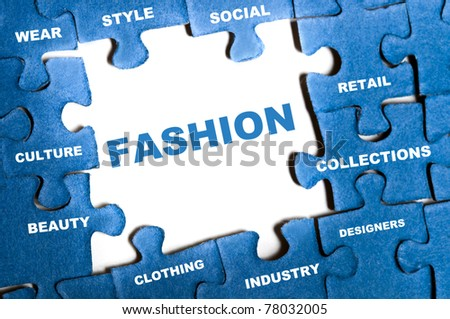 Fashion blue puzzle pieces assembled