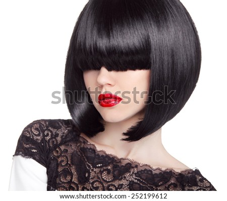 Fashion bob Haircut. Hairstyle. Long Fringe. Short Hair Style. Brunette girl with red lips isolated on white background - stock photo