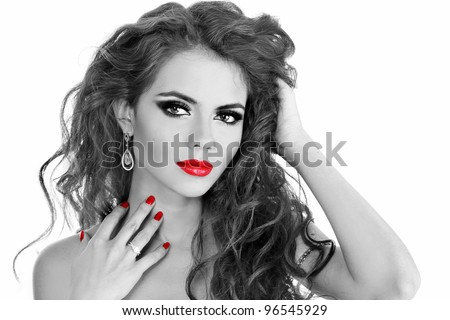 Fashion Brunette . Beautiful Makeup and Healthy Black long curly hairs - black and white photo - stock photo