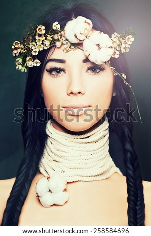 Fashion brunette woman with beautiful makeup and hair, tender night concept - stock photo