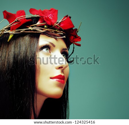 Fashion Brunette - woman with beautiful makeup and healthy black hair - stock photo