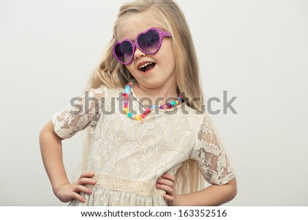 Fashion child girl. Isolated portrait.