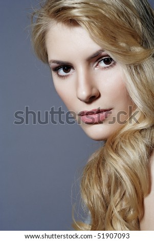 fashion close-up portrait of a young woman - stock photo