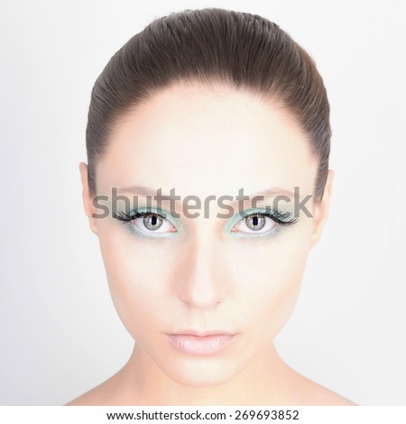 fashion close-up portrait of beautiful young woman.sweet girl.beauty make-up, fresh skin,isolated over white background - stock photo