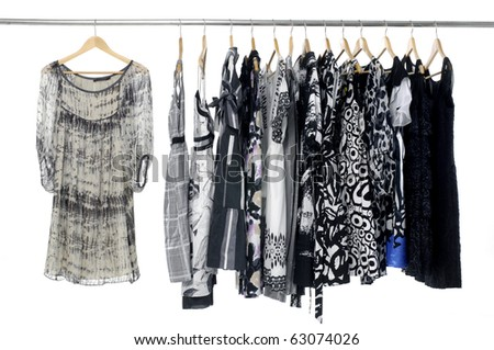 Fashion clothing rack display on hanging - stock photo