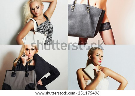 Fashion collage.Group of beautiful young women. girls with handbag.Beautiful blond woman.Stylish girl with white clutch.Spring Shopping.Beauty collage.Bags shop - stock photo