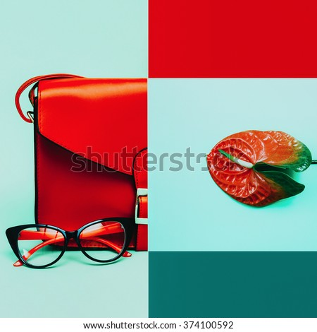 Fashion collage. Stylish accessories. Bag and Eyeglasses. Focus on Red