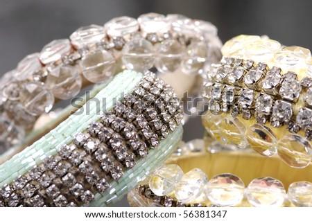 Fashion colorful brilliant bangles - stock photo
