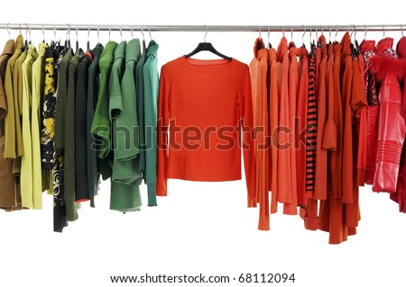 fashion colorful clothing hanging a on display - stock photo