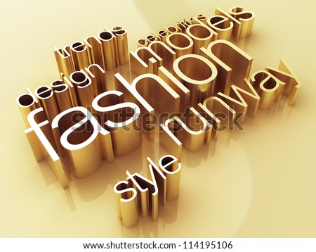 Fashion concept, a gold shiny metal, 3D rendering - stock photo