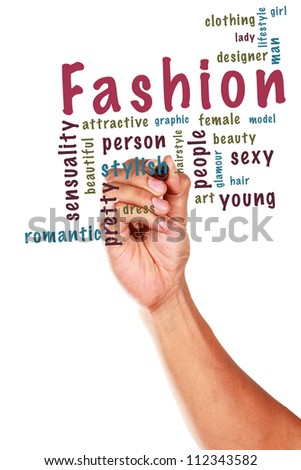 Fashion concept and other related words, written on whiteboard - stock photo