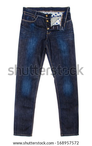 Fashion concept with trousers on white - stock photo