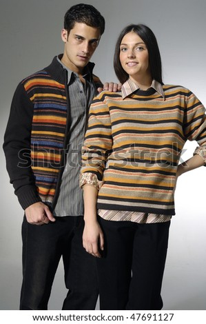 fashion couple shot in studio - stock photo