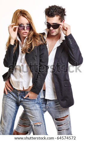 fashion couple with sunglasses - stock photo