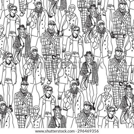 Fashion crowd people  seamless pattern. Happy people in big crowd. Seamless pattern. Monochrome illustration. - stock photo