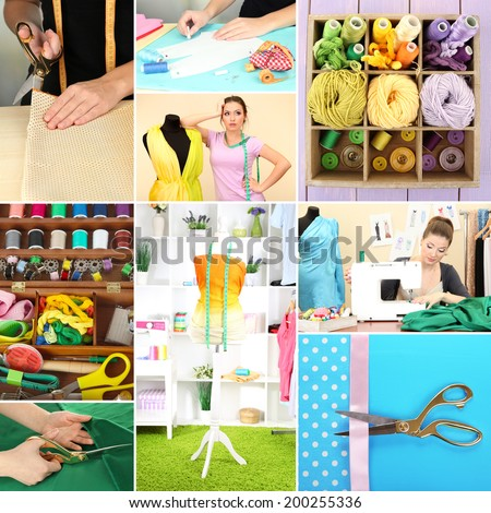 Fashion design collage. Sewing items - stock photo